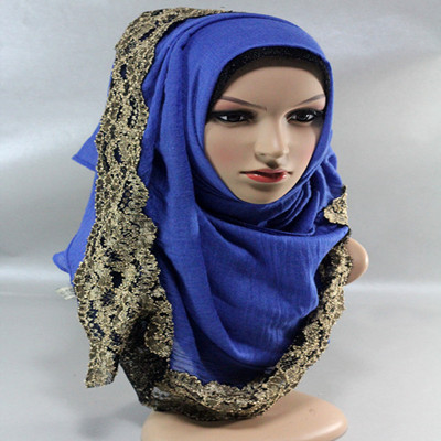 winter Spring summer soft cotton TR cotton solid infinity golden lace scarf women's shawl muslim hijab(China (Mainland))