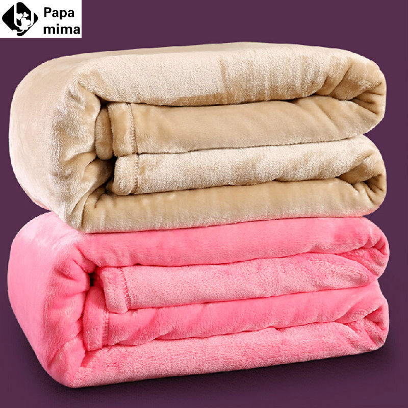Queen size Plaid 200*230cm 12 different colors sofa/air/bedding Throw solid color and double faced travel flannel blanket(China (Mainland))