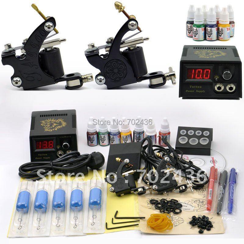 Professional Tattoo Set 2 Tatoo Guns 7 Color Inks kit tattoo complete machine rotary Power Supply