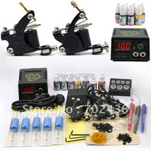 Professional Tattoo Kit Set 2 Tattoo Machine Guns 7 Color Inks Power Supply body art DHL or EMS Free shipping