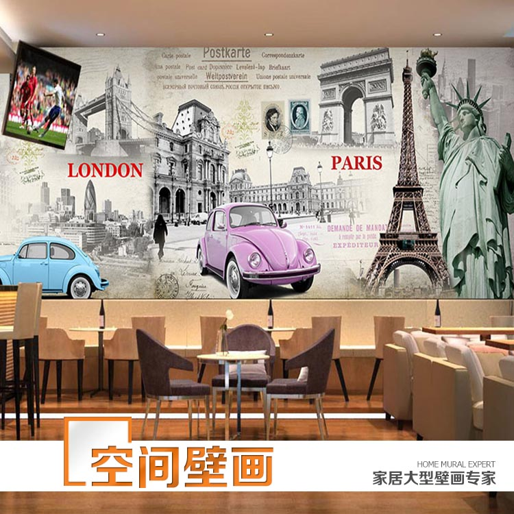 British style 3d mural living room sofa background wall for Cafe mural wallpaper