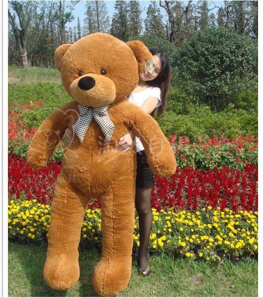 large plush dark brown teddy bear toy big eyes bow bear toy stuffed big teddy bear gift 160cm(China (Mainland))