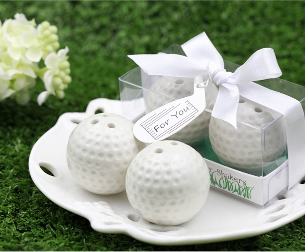 30pcs(15boxes/Lot)+Sports Themed Golf Ball Ceramic Salt and Pepper Shakers Unique Party Favors and Gift For Guest+FREE SHIPPING(China (Mainland))