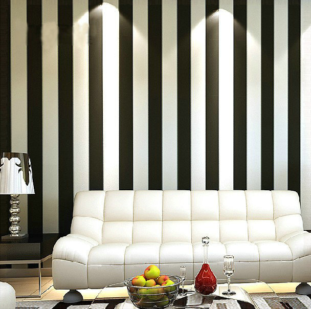 Home decor zebra modern brief vertical black and white for Striped wallpaper living room ideas