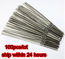 Stainless steel flat barbeque stick bbq skewers kebab 100pcs/lot SK11154172(China (Mainland))
