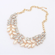 2014 New Arrival Hot Sale Lady Fashion Pearl Rhinestone Crystal Chunky Collar Statement Necklace Free Shipping & Wholesale