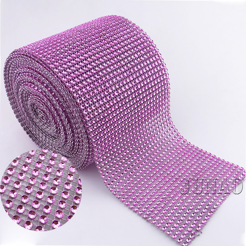 Pink Plastic No Rhinestones Mesh Trimming Sew On Diamond Mesh Appliques 24 Rows Wedding Party Ribbons Table Supplies Decorations(China (Mainland))