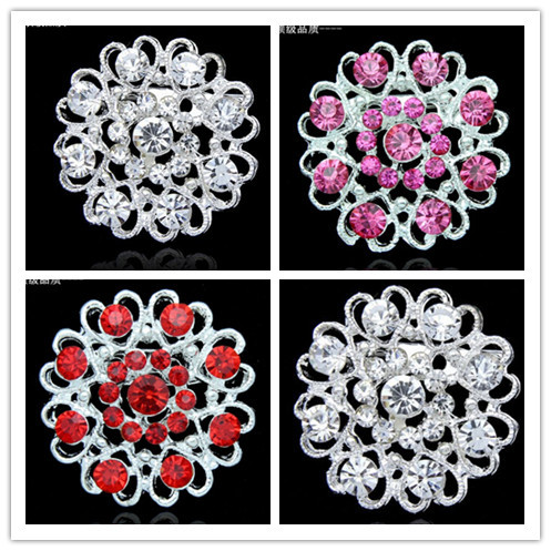 Top Luxury Multicolor Red Pink Rhinestone Crystal Brooches Large Women Fashion Brooch Pin Jewelry 1Pcs(China (Mainland))