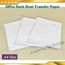 20Pcs High Quality A4 Size (297x210mm) DIY T-shirt Dark Iron On Heat Transfer Paper Inkjet Printing Crafts Printing Film(China (Mainland))
