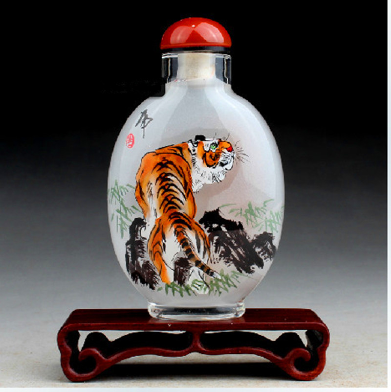 Novelty Chinese inner painting fork art crystal Craft perfume bottle Beautiful Tiger painting(China (Mainland))