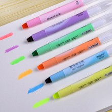 6pcs/lot Cute solid jelly highlighter Kawaii Rotation color crayon marker pens office material escolar school supplies canetas(China (Mainland))