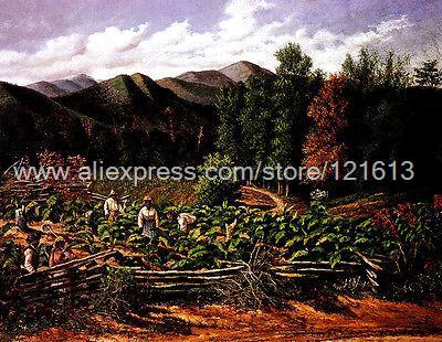 Walker William Tobacco Field With Five Figures Nc Wall Decoration Hand Painted Decoration For Coffee Bar Wall Art Abst(China (Mainland))
