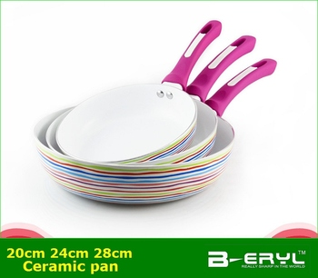 Germany 20/24/28cm 7 color rainbow  3pcs set of pans,ceramic coating nonstick frying pan,Electric and fire dual-use