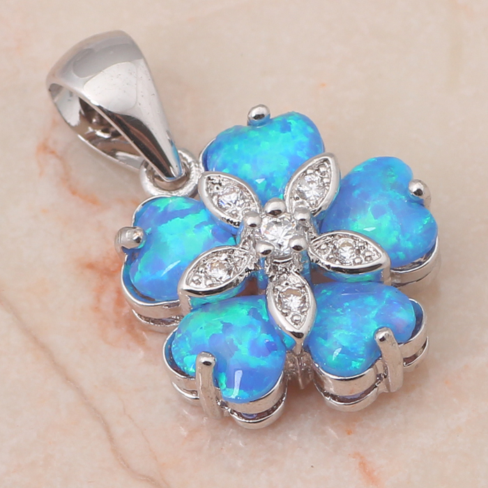 Maxi Necklaces jewellery Flower Shaped Blue Fire Opal 925 Sterling Silver Pendants Australia Zirconia Fashion jewelry OP500(China (Mainland))