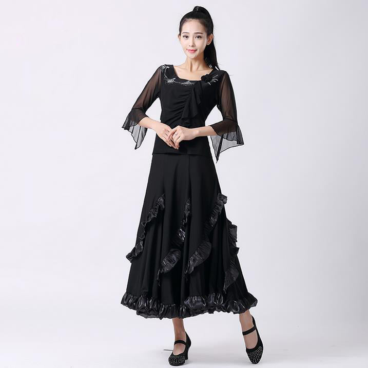 New Ballroom dance costumes senior half sleeves top+skirt 2pcs ballroom dance set for women ballroom dance suitsОдежда и ак�е��уары<br><br><br>Aliexpress