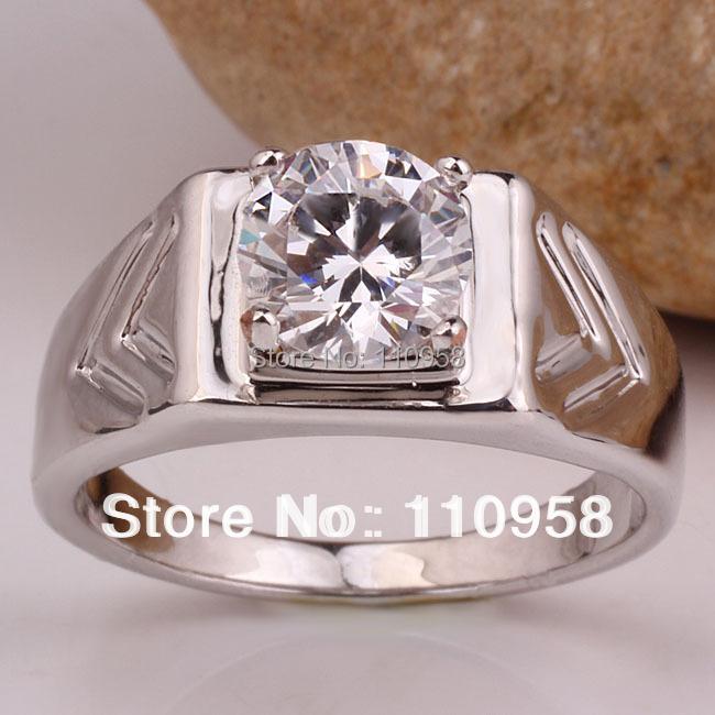Classic White Topaz White Gold Finish Men Genuine Sterling Silver Ring Man NAL Size 10 11 12 13 RV513<br><br>Aliexpress
