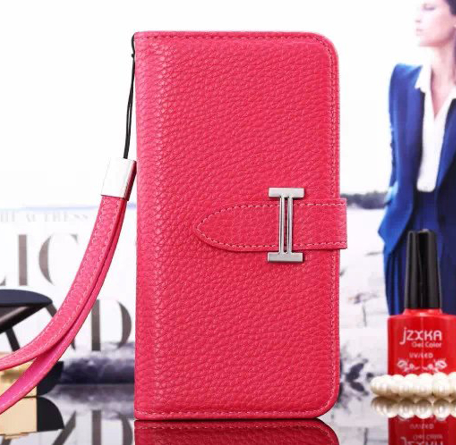 "New Luxury Designer Brand H Logo Genuine Leather Case for iPhone 6 Plus 5.5"" 4.7"" Fashion Lanyard wallet Bag Card Holder Cover(China (Mainland))"