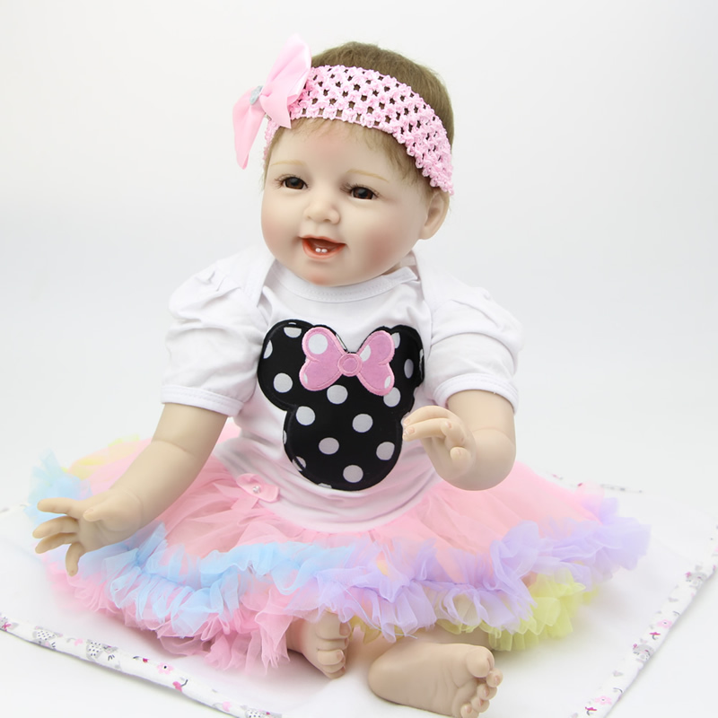 22Inch Silicone Reborn Baby Doll Toys For Girl Very Soft Alive Baby Doll  Lifelike Look Real Doll Princess Birthday Gift