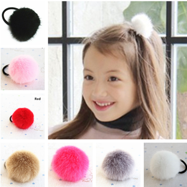 Super Cute 5-6cm Size Pom Faux Fur Ball Baby Girls' Hair ties Ponytail Holder Kids Accessories(China (Mainland))