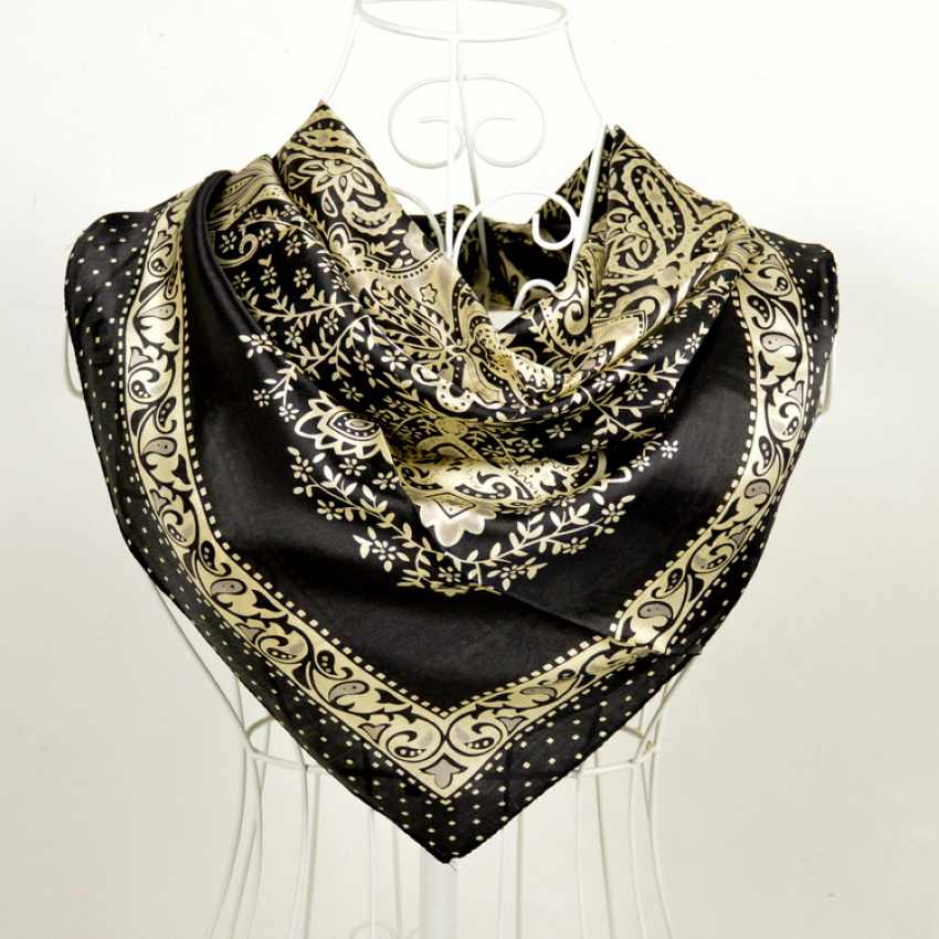 buy wholesale black silk square scarf from china