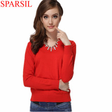 Sparsil Women Autumn Winter Cashmere Blend Sweater Knitted Pullover Female Have O-Neck&V-Neck Sweaters Total 12 Colors S_XXXL(China (Mainland))