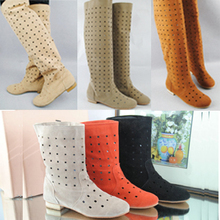 cut out women motorcycle boots long short and knee high flock flat boots women summer boots 2015 many colours(China (Mainland))