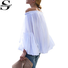 Sheinside Cute Ruffle Blouses Summer Style 2016 New Arrival Women's Shirts Casual White Boat Neck Loose Blouse(China (Mainland))