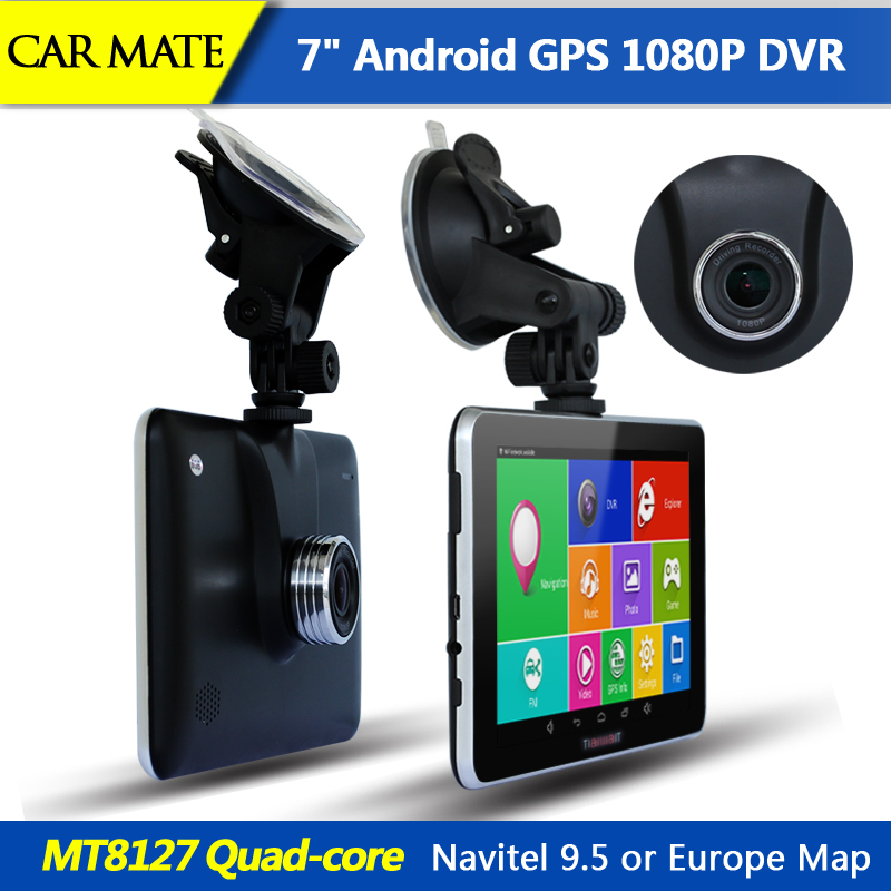 "New 7"" HD Car GPS Navigation Android 1080P Car dvrs Camera Recorder Vehicle gps MT8127 Quad-core Bluetooth Navitel Or Europe map(China (Mainland))"
