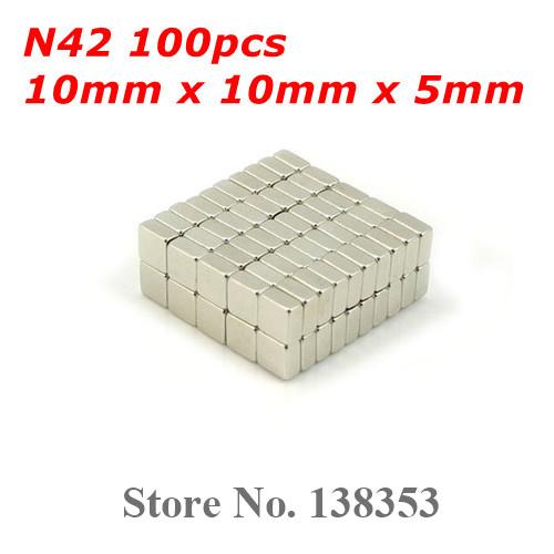 Wholesale 100pcs Super Strong N40 N42 Neodymium Square Block Magnets 10mm x 10mm x 5mm Rare Earth NdFeB Cuboid Magnet