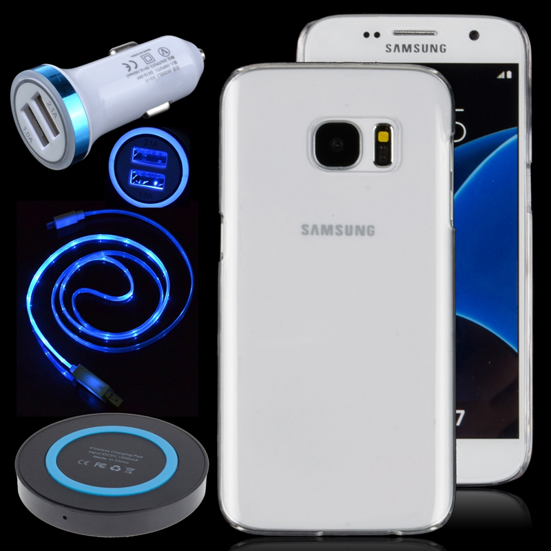 Dual USB Car Charger + Qi Wireless Charging Pad + LED Light Micro USB Cable + Super Slim Hard Clear Case For Samsung Galaxy S7(China (Mainland))
