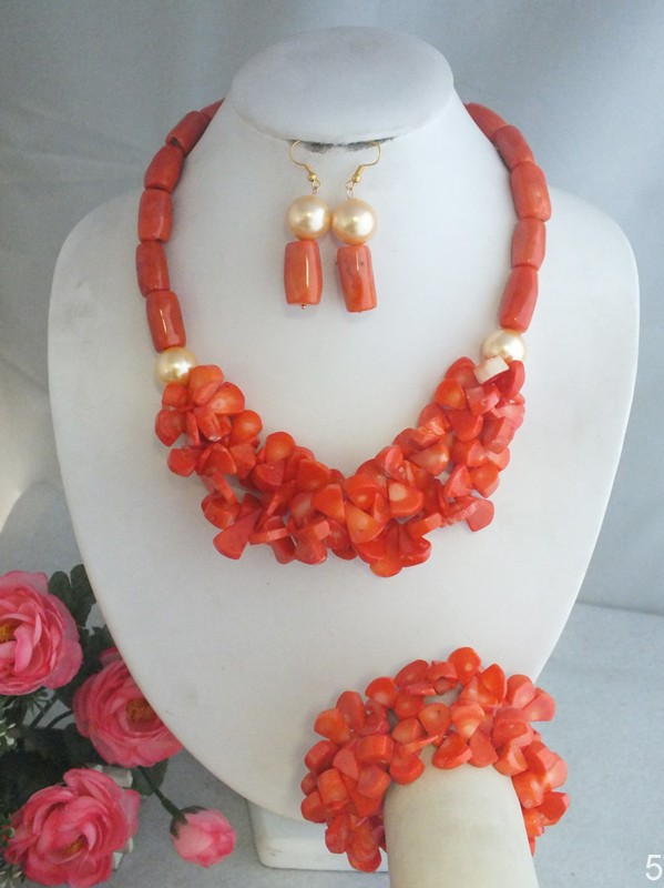W-4407 2016 Coral Beads Jewelry Britishn Wedding European Coral Drum Necklace Set(China (Mainland))