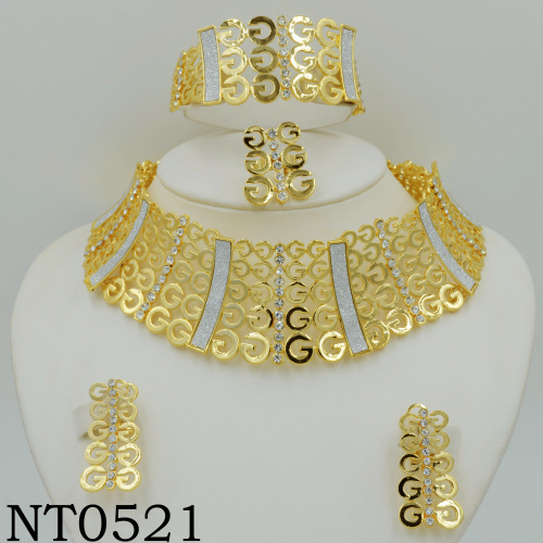 Big Nigerian Wedding African Beads Jewelry Sets Crystal Fashion Dubai Gold Plated Jewelry Sets 18K For Women Costume Design(China (Mainland))