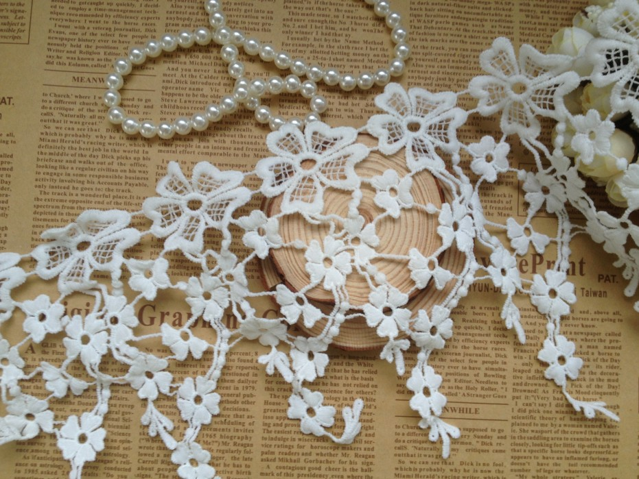 (18cm, 3Yard/lot ) white Diy handmade bride clothes decoration lace trim, lace fringe diy craft accessories, Free shipping(China (Mainland))