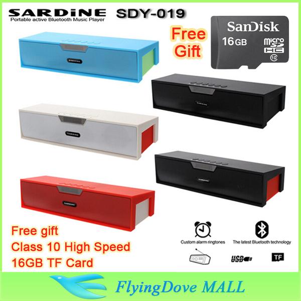 Big power Sardine HIFI Portable Wireless Bluetooth Speaker 10W Stereo Sound BOX with AUX USB TF FM Free Class10 16GB TF card!!!(China (Mainland))