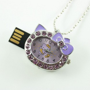 Fashional Diamond Purple Cute Hello Kitty Shape Model 4GB 8GB 16GB USB 2.0 Flash Memory Stick Pen Drive Thum/Car/Pen U Disk