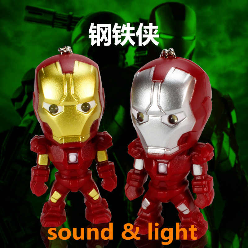 The Avengers Super Hero Pendant Dolls Iron Man Action Figure LED Keychains Toys Hot Movie Keychains With Sound<br><br>Aliexpress