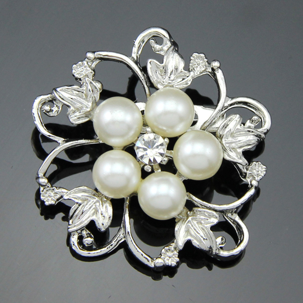 Free Shipping Hot Fashion Silver Wedding Brooches Pins Cheap Pearl Flower Brooches Bouquet For women(China (Mainland))