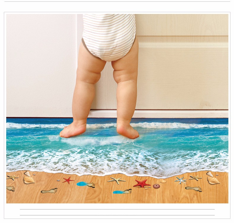 2016 Creative 3D Wall Stickers Starfish Footprint Beach Bathroom Floor Sticker Sea Vinilos Paredes Kids Poster free shipping(China (Mainland))