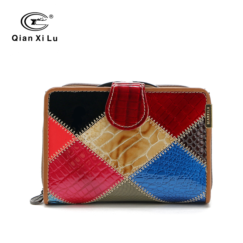 Qianxilu Brand Genuine Patent Leather Plaid Women Wallet Coin Pocket and Ladies Purse individuality(China (Mainland))