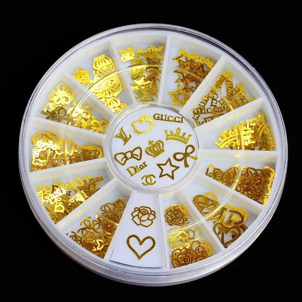 12 Models Gold Metal Stickers Nail Art Tips Crystal Glitter Rhinestone Fashion Nail Tools DIY Decoration Stamping(Chin