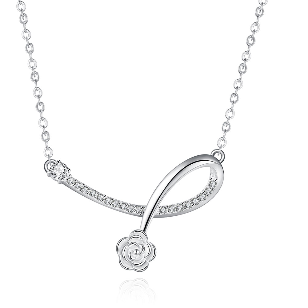 New Fashion Daisy Flower Bloom In Curve Shape 925 Sterling Silver Necklace CZ Diamond High Quality Low Price Birthday Gift(China (Mainland))