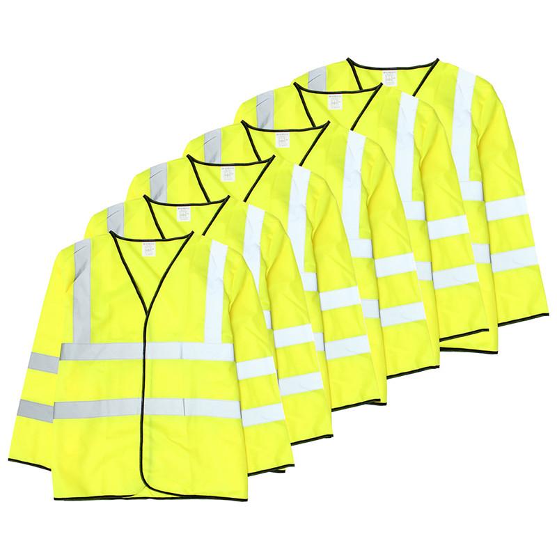 High Visibility Polyester Long Sleeve Safety Vest Waistcoat Jacket Reflective Stripes Labor Clothes S M L XL XXL XXXL Yellow(China (Mainland))