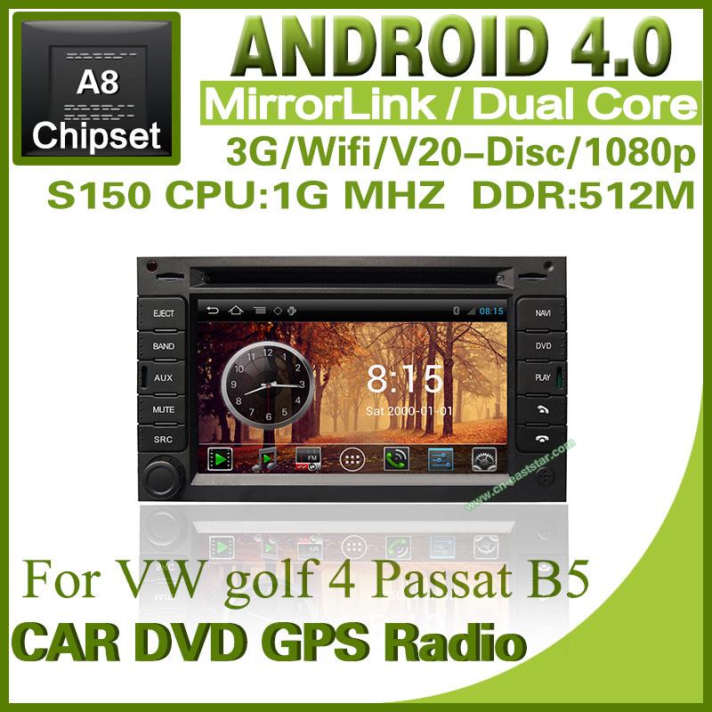 android 4.0 Car dvd for Volkswagen VW golf 4 Passat B5 S150 gps radio bluetooth TV USB Wifi 3G 1G CPU Free shiping 2pcs/lot 1231(China (Mainland))