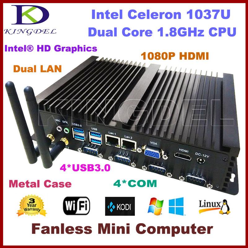 2016 New Fanless Mini PC Industrial Computer, Intel Celeron 1037U CPU, Barebone, 2*1000M LAN, 4*COM, 4*USB 3.0, 300M WiFi, HDMI(China (Mainland))