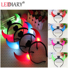 5pcs/lot creative plastic luminous horn lamp Ox horn light head hoop shine horn concert/party/Christmas/Halloween head lights(China (Mainland))