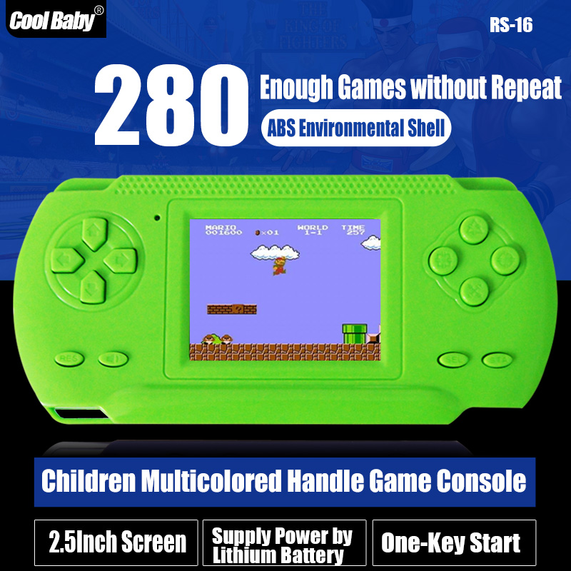 Wholesale Game Consoles For Kids 2.5 inch Child Colourfull Handheld Game Consoles CoolBaby Game Player with 280 Different Games(China (Mainland))