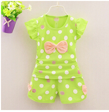 2016 causal toddler children clothing baby girls clothing sets bow 2pcs girls summer clothes set kids stripe dots tracksuit set (China (Mainland))