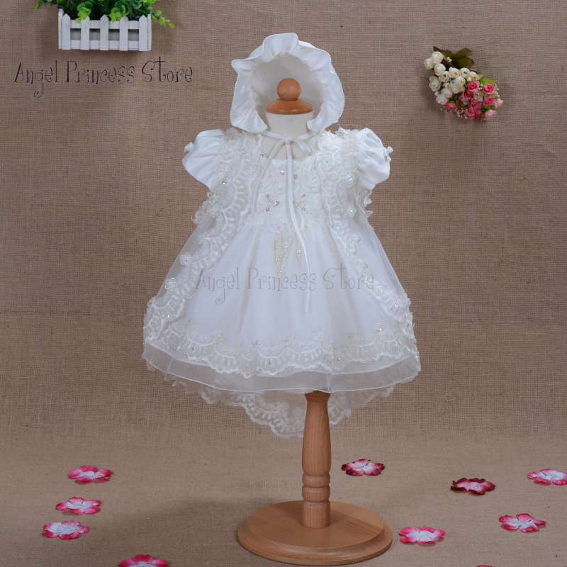 DF05 2015 Newborn Baby Christening Gown Infant Girl's Ivory Princess Lace Baptism Dress Toddler Baby Girl Chiffon Dress 3pcs/set(China (Mainland))