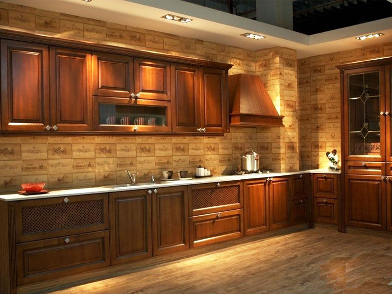 Free design Custom American solid wood kitchen cabinet with solid wood door panel America integral ambry solid wood cabinets(China (Mainland))