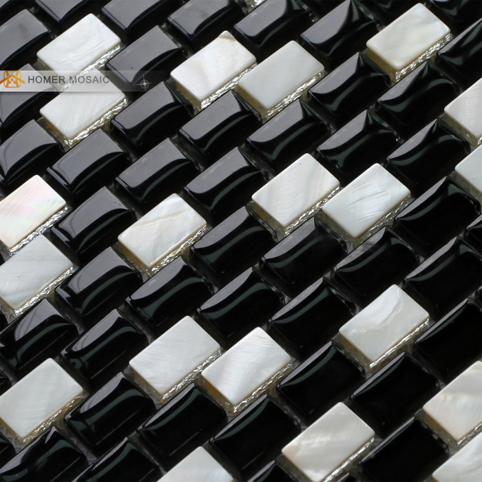 shipping black and white glass mixed mother of pearl mosaic tiles